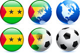Sao Tome Flag Button with Global Soccer Event