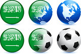 Saudi Arabia Flag Button with Global Soccer Event