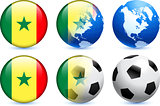 Senegal Flag Button with Global Soccer Event