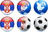 Serbia Flag Button with Global Soccer Event
