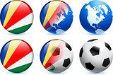 Seychelles Flag Button with Global Soccer Event