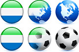 Sierra Leone Flag Button with Global Soccer Event