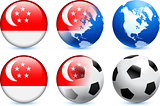 Singapore Flag Button with Global Soccer Event