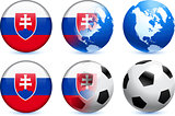 Slovakia Flag Button with Global Soccer Event