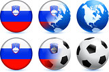 Slovenia Flag Button with Global Soccer Event