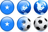Somalia Flag Button with Global Soccer Event