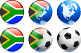 South Africa Flag Button with Global Soccer Event