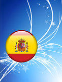 Spain Flag Button on Abstract Light Background