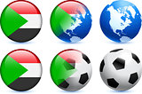 Sudan Flag Button with Global Soccer Event