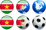 Suriname Flag Button with Global Soccer Event