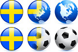 Sweden Flag Button with Global Soccer Event