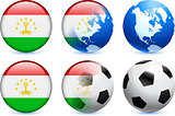 Tajikistan Flag Button with Global Soccer Event