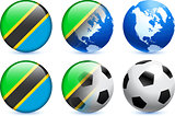 Tanzania Flag Button with Global Soccer Event