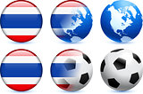 Thailand Flag Button with Global Soccer Event