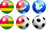 Togo Flag Button with Global Soccer Event