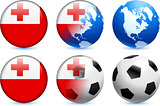 Tonga Flag Button with Global Soccer Event