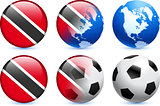 Trinidad and Tobago Flag Button with Global Soccer Event