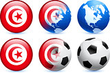 Tunisia Flag Button with Global Soccer Event