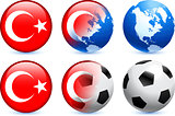 Turkey Flag Button with Global Soccer Event