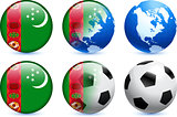Turkmenistan Flag Button with Global Soccer Event