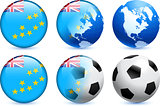 Tuvalu Flag Button with Global Soccer Event