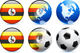 Uganda Flag Button with Global Soccer Event