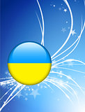Ukraine Flag Button on Abstract Light Background