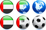 United Arab Emirates Flag Button with Global Soccer Event