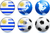 Uruguay Flag Button with Global Soccer Event
