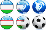 Uzbekistan Flag Button with Global Soccer Event
