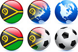 Vanuatu Flag Button with Global Soccer Event