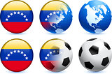 Venezuela Flag Button with Global Soccer Event