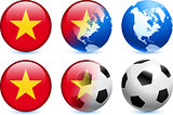 Vietnam Flag Button with Global Soccer Event