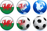 Wales Flag Button with Global Soccer Event
