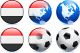Yemen Flag Button with Global Soccer Event