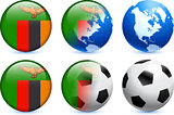 Zambia Flag Button with Global Soccer Event