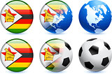 Zimbabwe Flag Button with Global Soccer Event