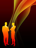 Business Couple on Abstract Flowing Flame Background