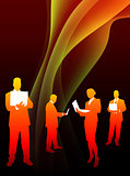 Business Team on Abstract Flowing Flame Background