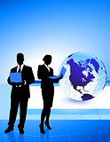 Business Couple with Globe Background