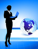 Businesswoman on Globe Background