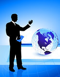 Businessman on Globe Background