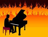 Piano Musician on Fire Background
