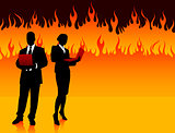 Business Couple on Fire Background
