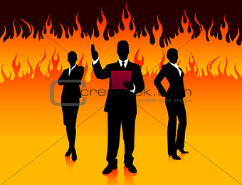 Business Team on Fire Background