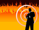Businessman on Fire Background