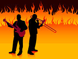 Live Band on Fire Background