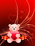 Valentine's Day Bear on Abstract Light Background