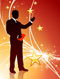 Businessman on Abstract Star Light Background