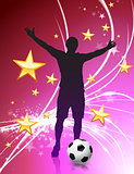 Soccer Player on Abstract Light Background